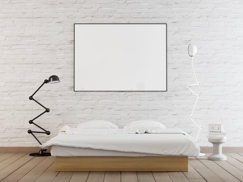 Derisione interna del manifesto su con la struttura orizzontale sulla parete nell'interno domestico della camera da letto illustrazione vettoriale