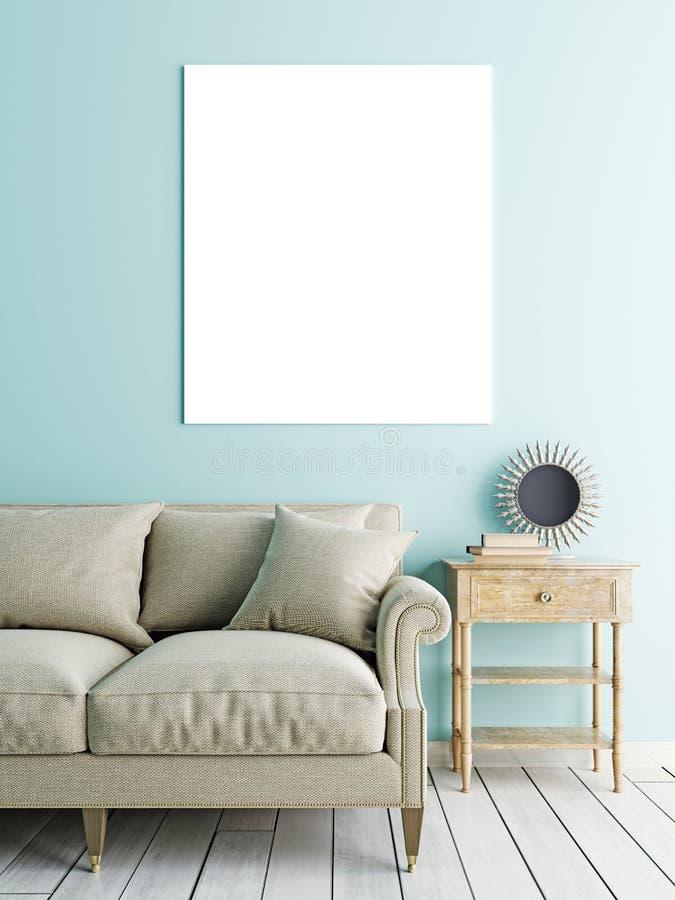 Derisione quadrata del manifesto su, sofà e tavola bassa sul backgro pastello della parete illustrazione di stock