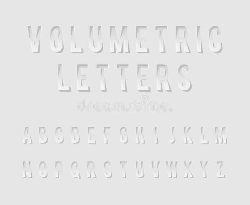 Derisione realistica di progettazione del modello 3d del ritaglio delle lettere volumetriche di alfabeto sull'illustrazione di ve royalty illustrazione gratis