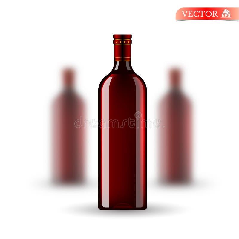 Derisione realistica tre sulla bottiglia rossa di vino su bianco Vector la profondità di campo delle bottiglie taglienti e due de illustrazione di stock