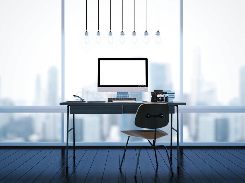 Derisione su di area di lavoro classica con le finestre 3d immagine stock libera da diritti