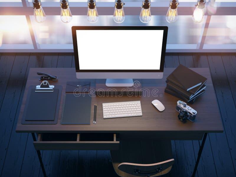 Derisione su di area di lavoro moderna rappresentazione 3d illustrazione di stock
