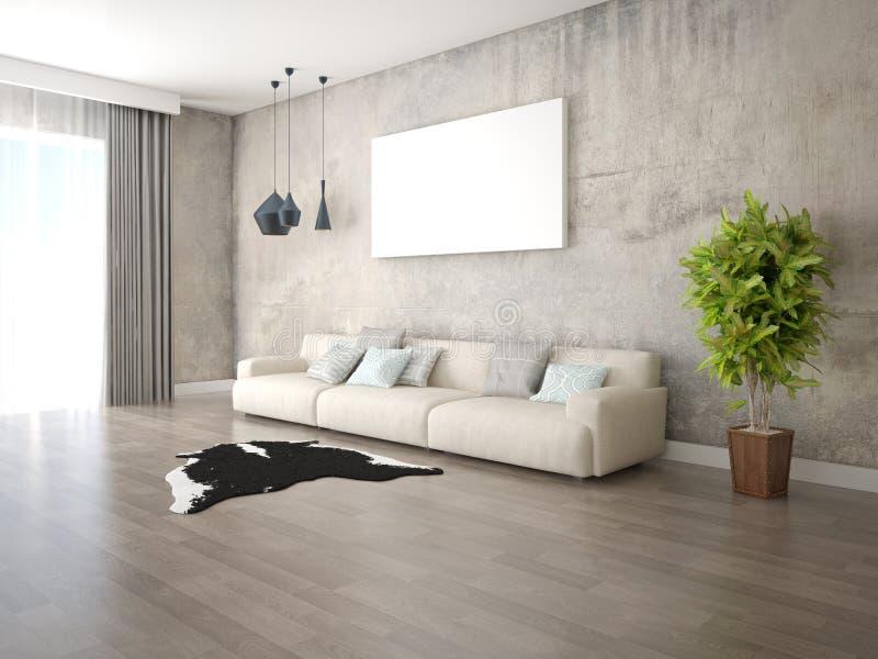 Derisione su un salone spazioso con un grande sofà comodo royalty illustrazione gratis