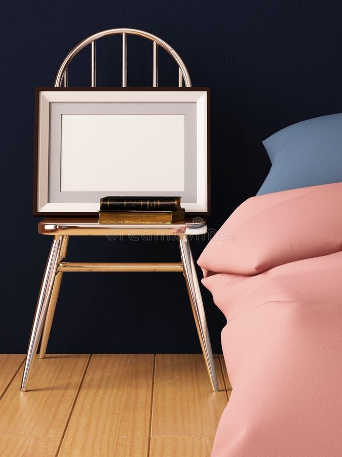 Derisione sui manifesti nell'interno della camera da letto Stile interno dei pantaloni a vita bassa 3D rappresentazione, illustra illustrazione vettoriale