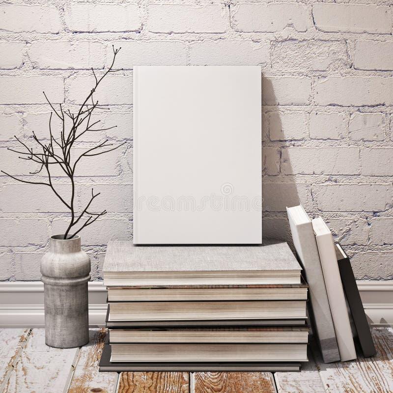 Derisione sul libro sul mucchio dei libri nell'interno del sottotetto dei pantaloni a vita bassa fotografia stock