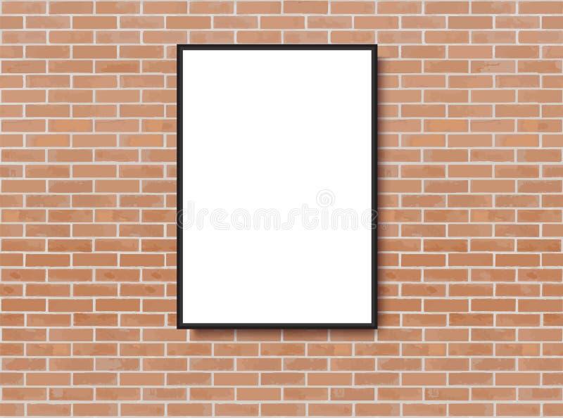 Derisione sul manifesto con il fondo dell'interno del sottotetto Pagina sulla parete Derisione di Photoframe su Muro di mattoni M illustrazione vettoriale