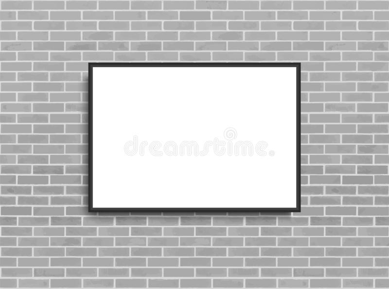 Derisione sul manifesto con il fondo dell'interno del sottotetto Pagina sulla parete Modello di Photoframe Muro di mattoni Modell royalty illustrazione gratis