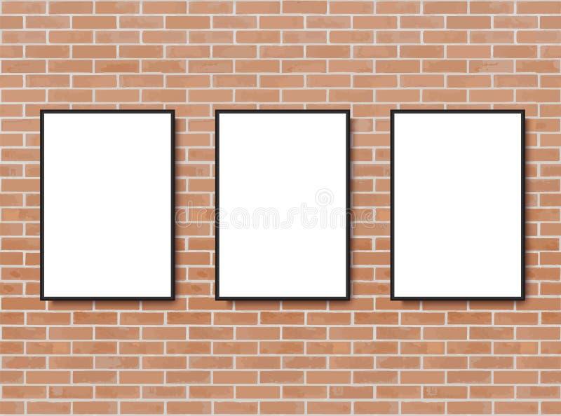Derisione sul manifesto con il fondo dell'interno del sottotetto Pagina sulla parete Modello di Photoframe Muro di mattoni Modell illustrazione di stock