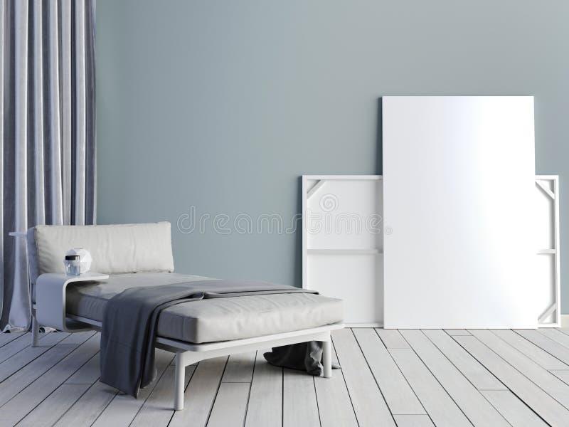Derisione sul manifesto con il sottotetto pastello d'annata di minimalismo dei pantaloni a vita bassa inter illustrazione di stock