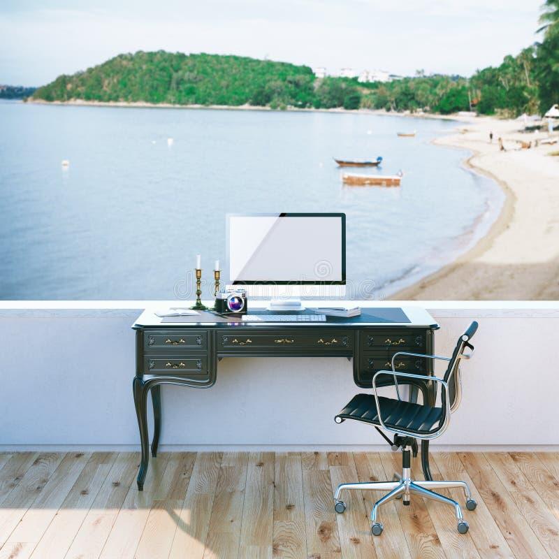 Derisione sul manifesto del desktop del lavoro di blogger di viaggio con la vista della spiaggia illustrazione di stock