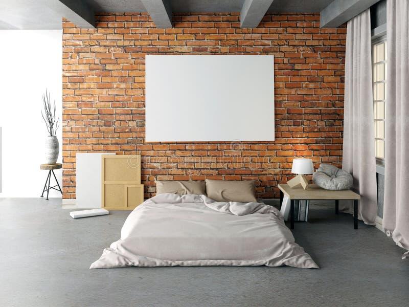 Derisione sul manifesto nell'interno della camera da letto Stile dei pantaloni a vita bassa della camera da letto 3d IL illustrazione di stock