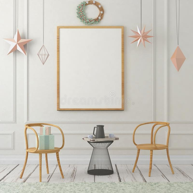 Derisione sul manifesto nell'interno di natale illustrazione 3D 3d rendono illustrazione vettoriale