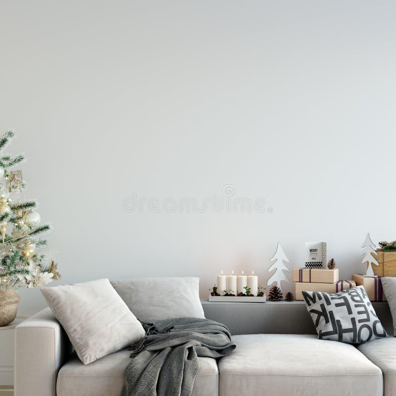 Derisione sul Natale della parete interno Stile scandinavo Arte della parete 3D rappresentazione, illustrazione 3D illustrazione vettoriale