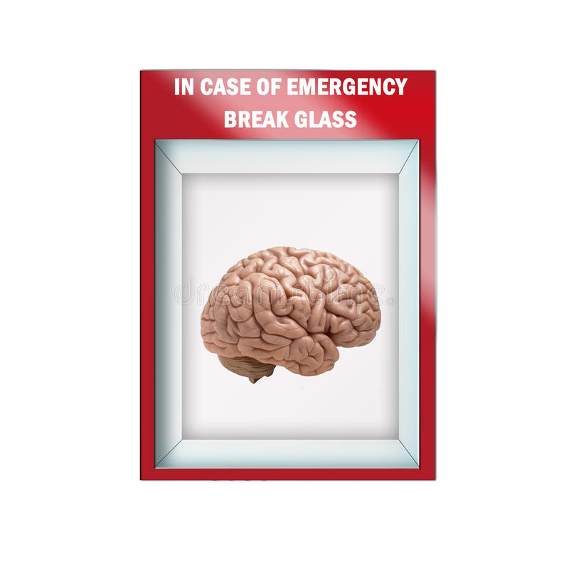 Derisione sull'illustrazione - caso di vetro della rottura di emergenza illustrazione di stock