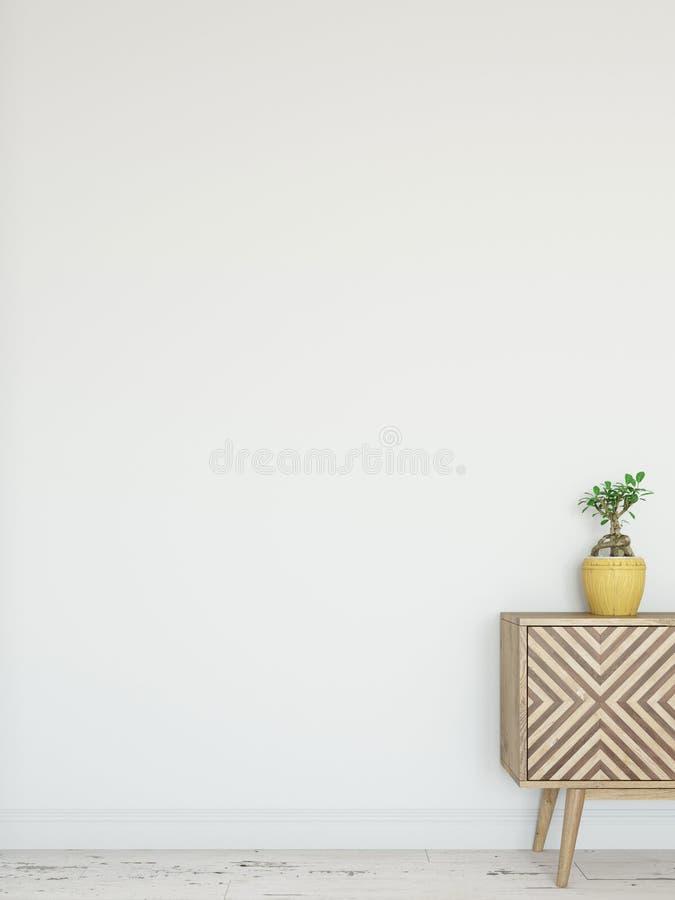 Derisione sull'interno della parete Arte della parete 3D rappresentazione, illustrazione 3D illustrazione di stock