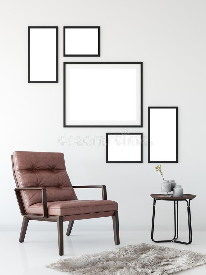 Derisione sull'interno della parete Arte della parete 3D rappresentazione, illustrazione 3D illustrazione vettoriale