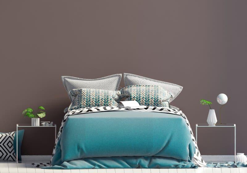Derisione sulla parete nell'interno della camera da letto Stile dello scandinavo della camera da letto 3d illustrazione di stock