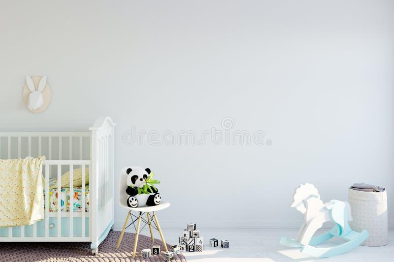 Derisione sulla parete nell'interno della stanza di bambino Stile scandinavo interno 3D rappresentazione, illustrazione 3D royalty illustrazione gratis