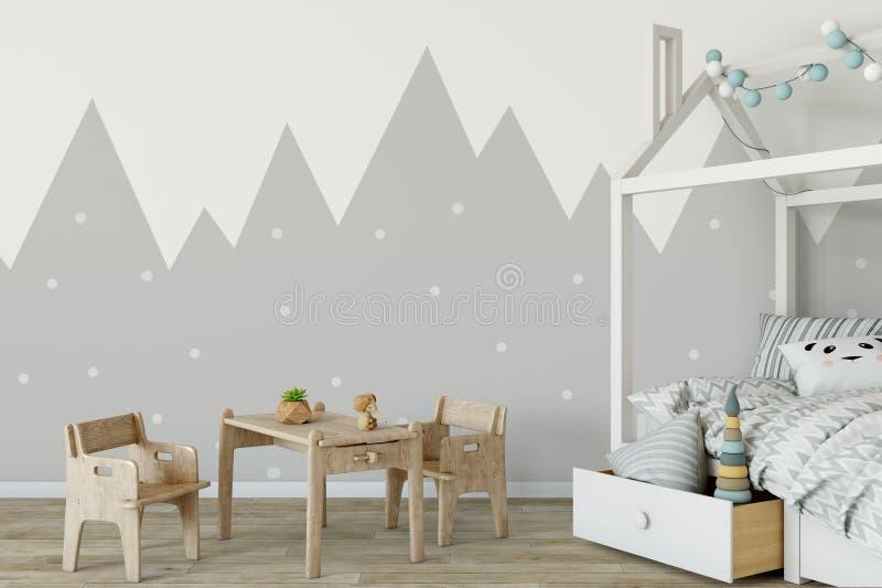 Derisione sulla parete nell'interno della stanza di bambino Stile scandinavo interno 3D rappresentazione, illustrazione 3D illustrazione di stock
