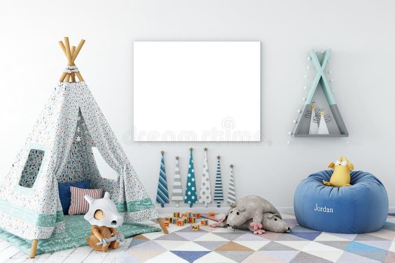 Derisione sulla parete nell'interno della stanza di bambino Stile scandinavo interno 3D rappresentazione, illustrazione 3D illustrazione vettoriale