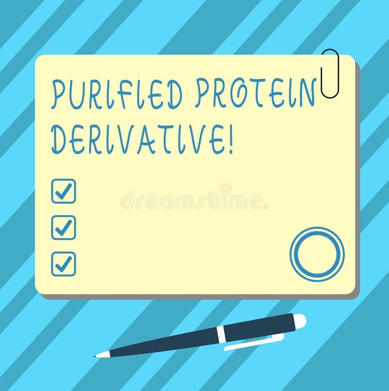 Derivado purificado texto de la proteína de la escritura de la palabra Concepto del negocio para el extracto de color cuadrado de ilustración del vector