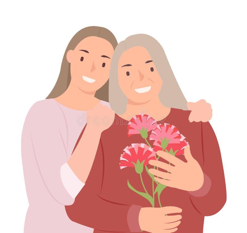 Derivato e madre felici di giorno di madri di progettazione di carattere della gente del fumetto giovani con i fiori del garofano illustrazione di stock