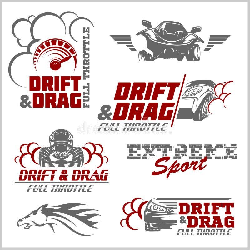 Derive, competência do arrasto, ajustando, esporte automóvel - grupo de logotipo dos carros ilustração do vetor