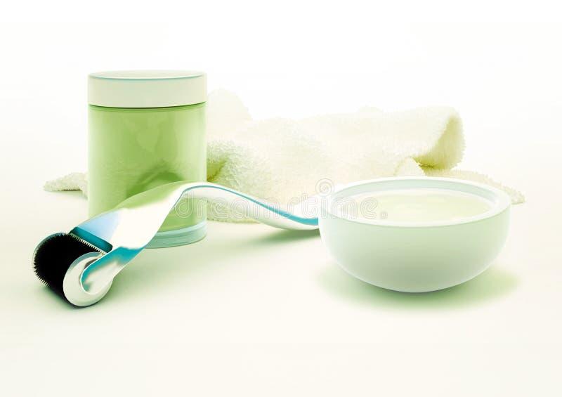 Derma rulle för medicinsk mikroneedling terapi med den glass lilla medicinflaskan royaltyfria foton