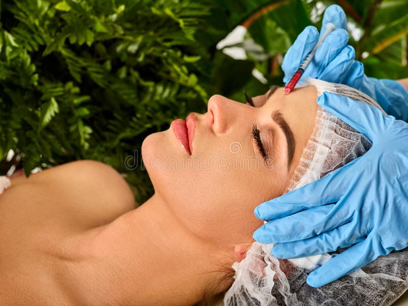 Dermal fillers of woman in spa salon with beautician. Filler injection for female face. Plastic aesthetic facial surgery by female doctor in beauty clinic stock image