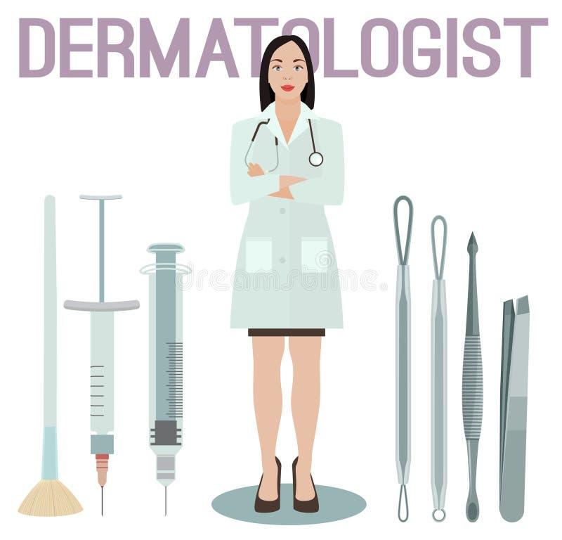 Dermatólogo Image de la mujer stock de ilustración