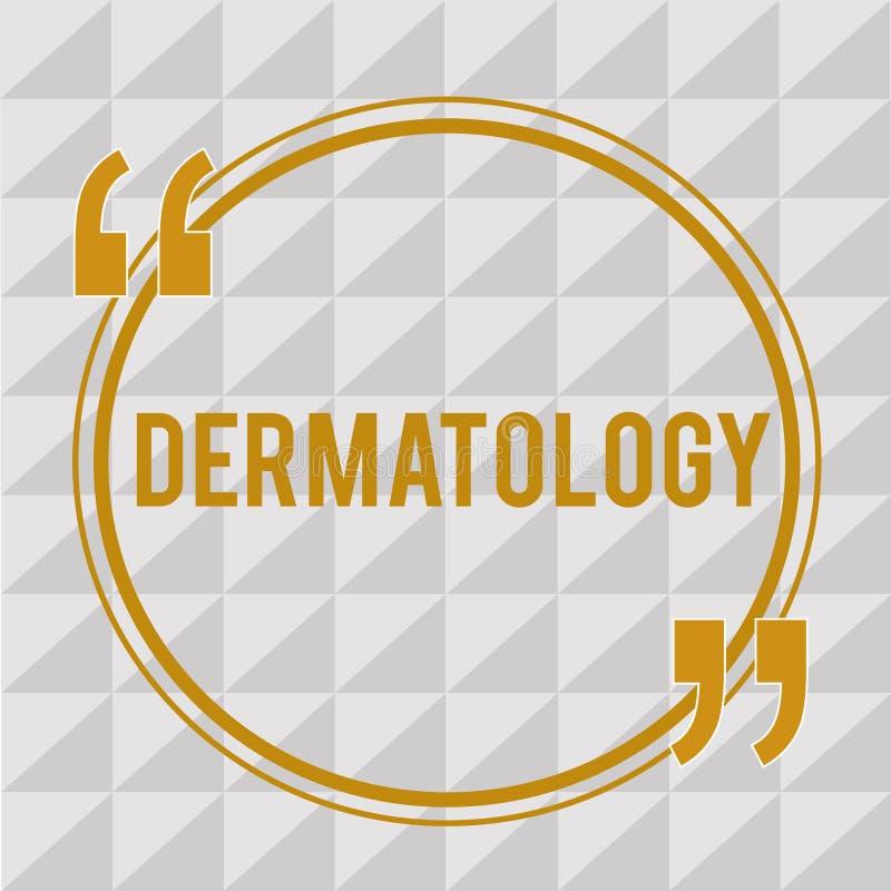 Dermatología del texto de la escritura Concepto que significa la rama cosmética del cuidado y del aumento del tratamiento de la p ilustración del vector