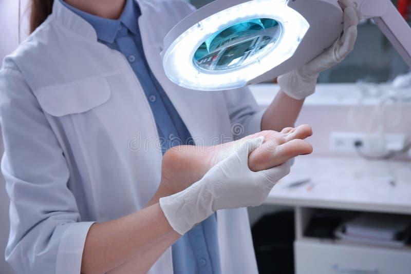 Dermatolog egzamininuje stopę pacjent obrazy stock