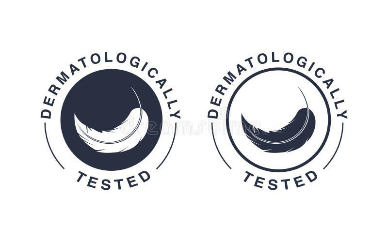 Dermatologically testade logo Vektorfjädersymboler av hypoallerg royaltyfri illustrationer