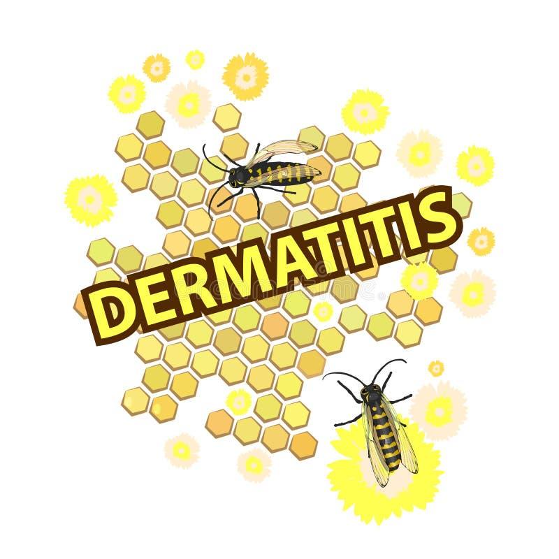 dermatologiczny inskrypcja z pszczołami i ilustracji