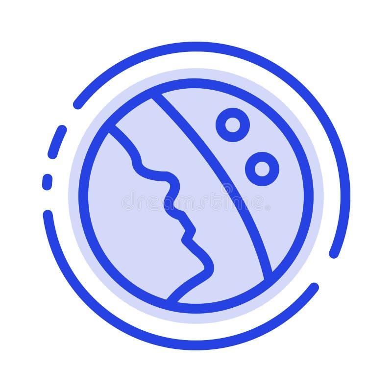 Dermatologie, trockene Haut, Haut, Linie Ikone der Hautpflege-blauen punktierten Linie stock abbildung