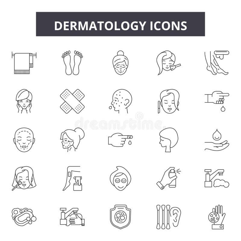 Dermatologii kreskowe ikony, znaki, wektoru set, kontur ilustracji pojęcie royalty ilustracja