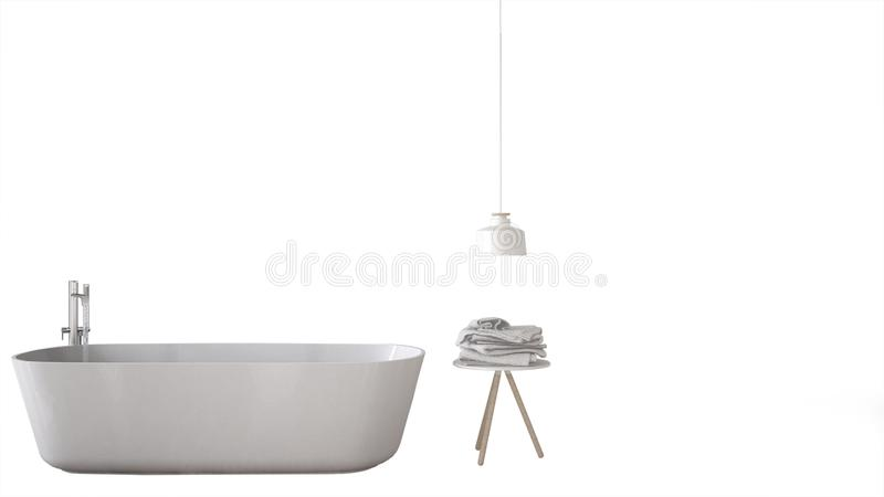Dern white bathroom with bathtub and accessories, interior design concept idea, isolated on white background with copy space,. Modern white bathroom with bathtub royalty free illustration