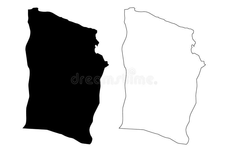 Derna District Districts of Libya, State of Libya, Cyrenaica map vector illustration, scribble sketch Derna map.  royalty free illustration