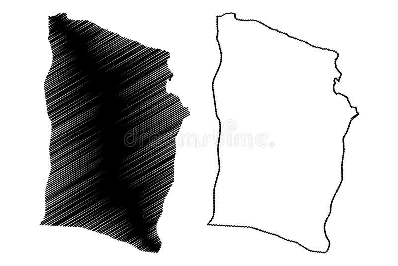Derna District Districts of Libya, State of Libya, Cyrenaica map vector illustration, scribble sketch Derna map.  vector illustration