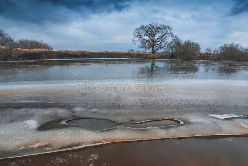 Dernière glace sur une rivière photographie stock libre de droits