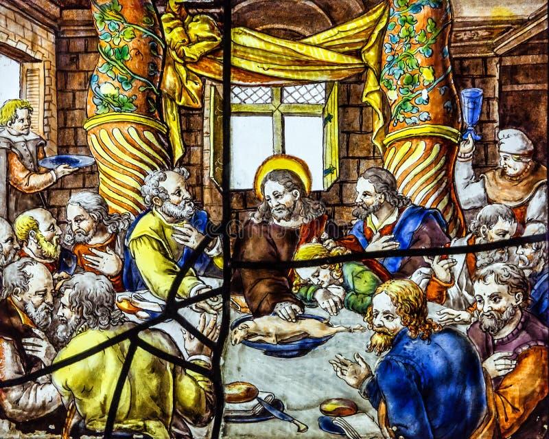 Dernier dîner, icône de fenêtre de vitrage en palais de Pena, Sintra, Portuga photographie stock