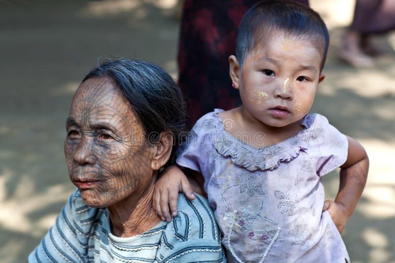 Dernier des Birmans tatoués Chin Tribe Women images stock