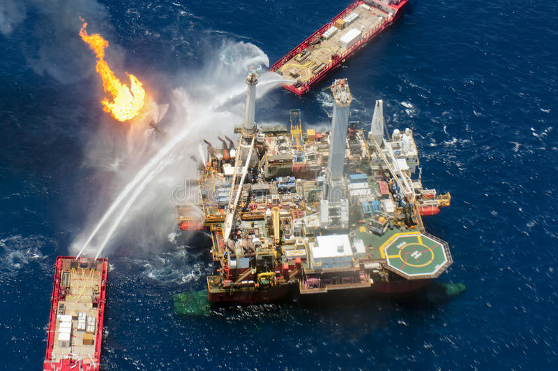 Derramamento de petróleo do horizonte da água profunda de BP foto de stock