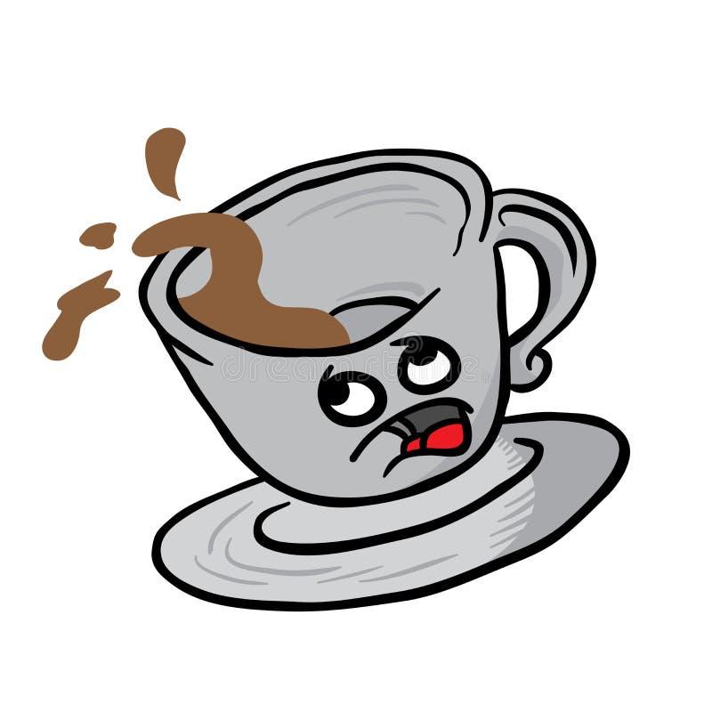 Derramamiento asustado de la taza de café libre illustration
