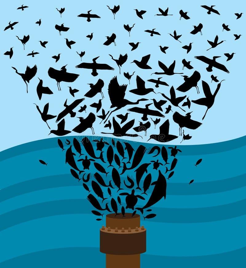 Derramamiento de petróleo ilustración del vector