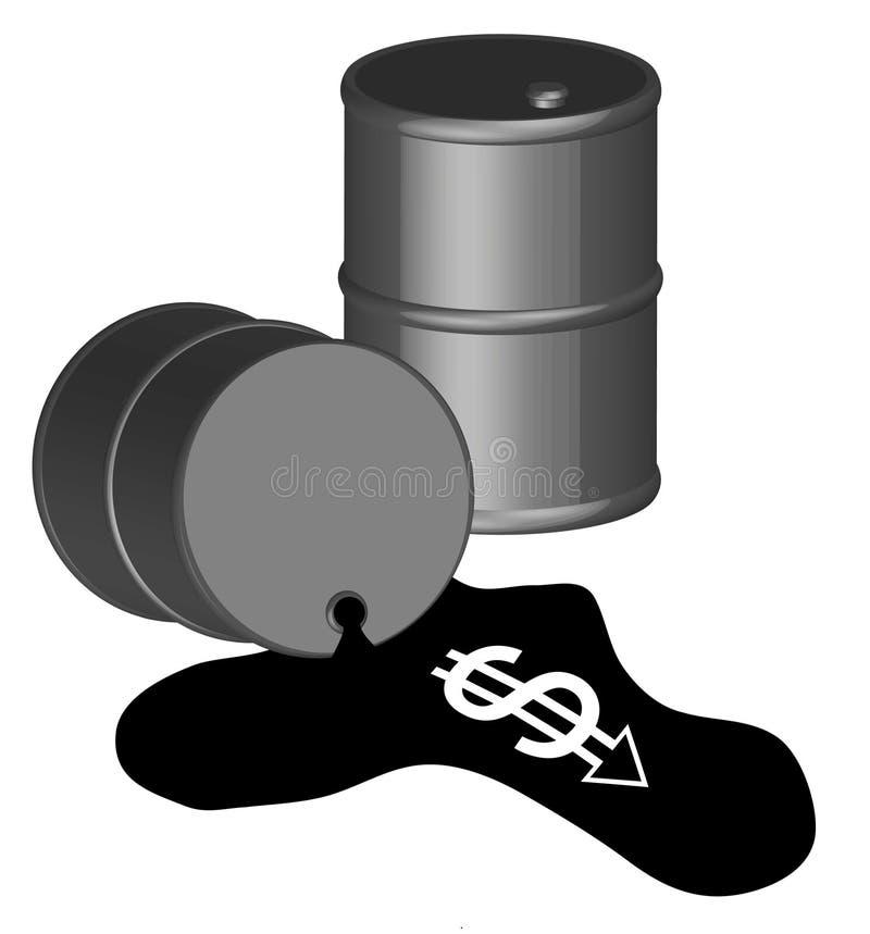 Derramamiento de petróleo costoso stock de ilustración