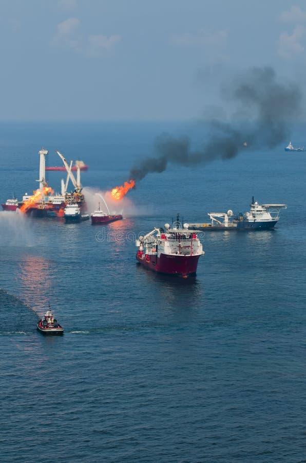 Derramamiento de petróleo profundo del horizonte del punto de ebullición foto de archivo libre de regalías