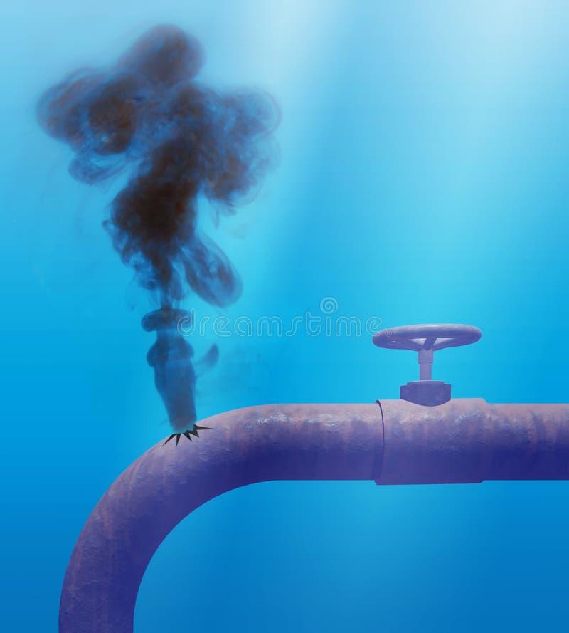 Derramamiento de petróleo subacuático stock de ilustración