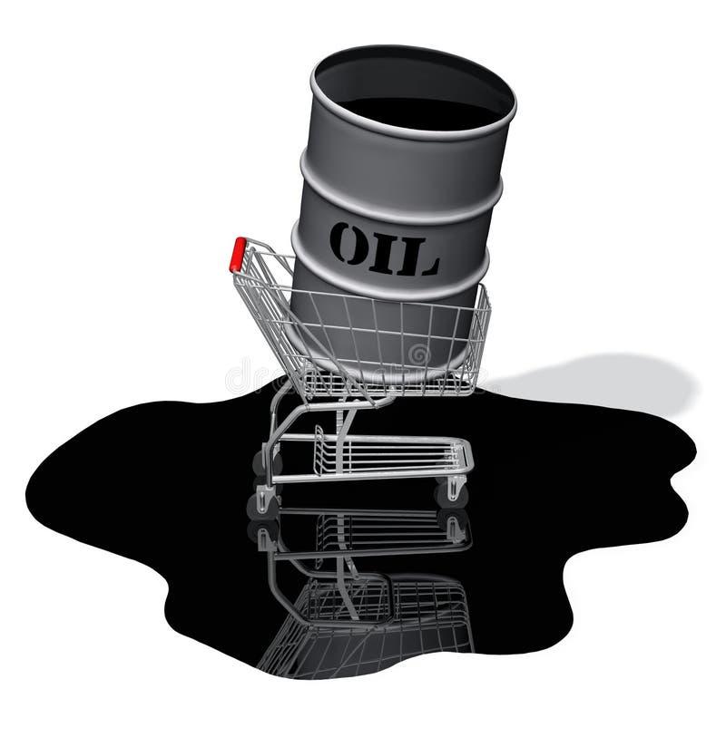 Derramamiento del carro de compras del tambor de petróleo libre illustration