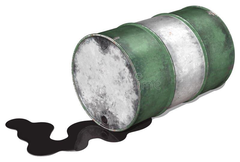 Derramamiento del tambor de petróleo stock de ilustración
